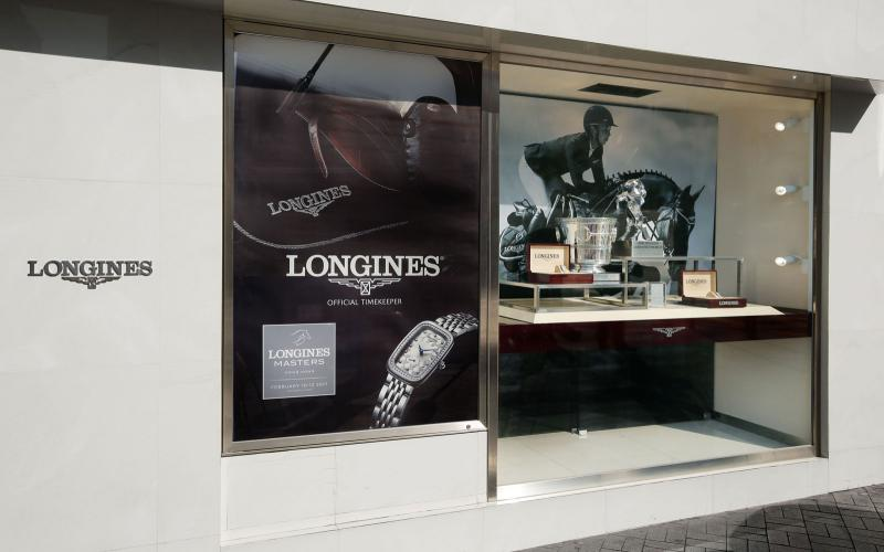 The trophies of the Longines Masters of Hong Kong showcased in Longines' largest flagship store in Star House