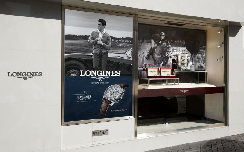 The trophy of the Longines Grand Prix of the Longines Masters of Hong Kong showcased in Longines' largest flagship store in Star House